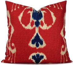 red and blue ikat
