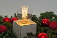 LJ Lampα - vergoldete Design Leuchte aus Beton  von LJ Lamps auf DaWanda.com