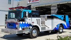 San Jose FD's special shark fire engine. It's use mostly for displays and for special events. The San Jose Sharks are an NHL (professional hockey) team. #sanjose #sharks #fire #truck