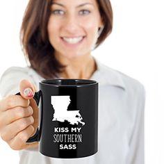 Amazon.com: Louisiana cup Louisiana coffee mug Kiss my southers sass Louisiana mug - Louisiana coffee cup Louisiana state mug 11oz Black US State mugs: Kitchen & Dining
