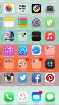 4 Easy steps to organize your iPhone in 5 minutes! Your iPhone 6 home screen will never be the same thing again! Iphone Hacks, App Iphone, Iphone Icon, Iphone 6 Home Screen, Telefon Hacks, Tela Do Iphone, Organize Apps On Iphone, Iphone Codes, Pag Web