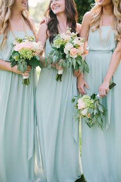 From the moment I laid eyes on these mint green bridesmaid dresses and lovely lush bouquets, I was head over heels in love with this wedding. It only took one peep