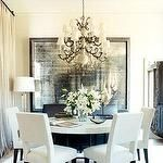 dining rooms - mirror dining white contemporary  Glam sophisticated dining room.   The masculine contemporary white chair and white stone table
