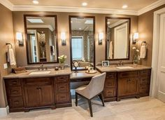 Dual bathroom sinks with integrated makeup area (Mommy Ramblings).
