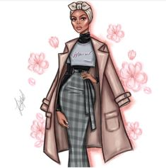 Happy with wearing the exclusive Woman design for 🌸 Happy Women's day to all my… Fashion Model Sketch, Fashion Sketches, Fashion Models, Black Women Art, White Women, Poses, Arte Fashion, Modele Hijab, Illustration Mode