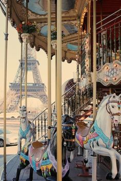 Love this perspective of the carousel near the Eiffel Tower.