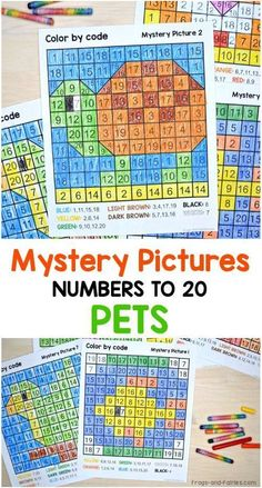 These pages are a fun way for kids to practice identifying numbers and also strengthening fine motor skills! They make great practice pages or center activities. The mystery pictures in this set include numbers up to Teaching Numbers, Math Numbers, Teaching Math, Teaching Resources, Math Activities For Kids, Fun Math, Maths, Homeschool Math, Homeschooling