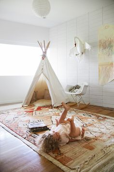Light-Filled Bohemian Nursery and Playroom || Glitter, Inc.