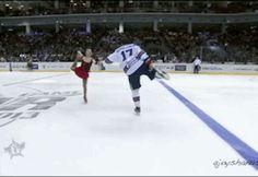 Ilya Kovalchuk figure skates at the KHL all-star game.