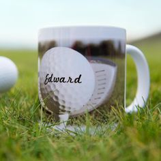 Personalised Golf Ball Mug - This fun mug is the perfect gift for those who are forever wishing they were out on the fairway instead of being stuck in the office!