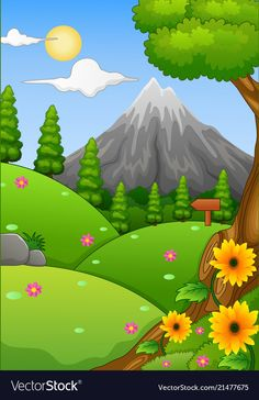 Summer landscape with mountain and hills Vector Image Art Drawings For Kids, Drawing For Kids, Easy Drawings, Bridge Drawing, Drawing Scenery, Forest Drawing, Mountain Drawing, Nature Iphone Wallpaper, Wallpaper Backgrounds