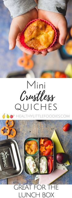 Mini crustless quiches are great for the lunch boxes or a lunch at home. This version has added spinach and cheese but you can substitute to suit tastes. Kids food, healthy kids lunch ideas via @hlittlefoodies