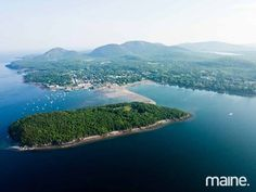 Mount Desert Island, Maine - view over Bar Island and Bar Harbor to the mountains of Acadia National Park