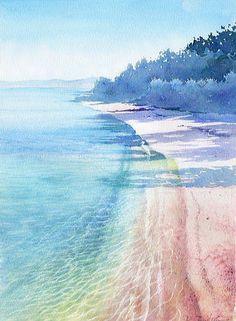 【水彩画テラス】沖縄の風景「朝 」竹富島/水彩画