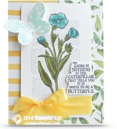 SU! Butterfly Basics stamp set; Butterfly Framelits; All Abloom DSP; ink and cardstock colors are Whisper White, Smoky Slate, Soft Sky and Tuxedo Black Memento Ink; Old Olive and Coastal Cabana Blendabilities; Daffodil Delight seam binding ribbon