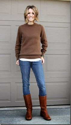 Nice fall look sweater shirt, denim and boots