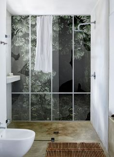 Alternatives to Tiling Your Bathrooms - Waterproof Wallcoverings, Bathroom inspiration from decorative waterproof wallpaper, to wall/shower panels. Bad Inspiration, Decoration Inspiration, Bathroom Inspiration, Interior Inspiration, Bathroom Ideas, Decor Ideas, Bathroom Doors, Bathroom Interior, Modern Bathroom