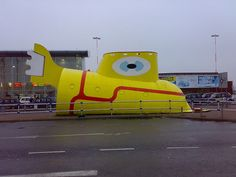 Yellow Submarine statue, liverpool john lennon airport, airport tours, the beatles, john lennon