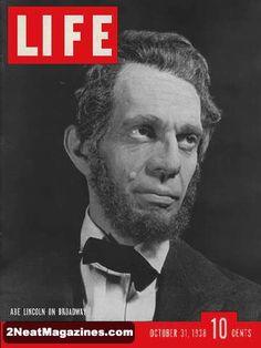 Life Magazine October 31, 1938 : Cover - Abe Lincoln on Broadway, Raymond Massey.