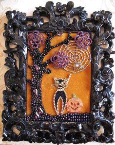 Halloween Rhinestone Costume Jewelry repurposed  Framed Tree Black Cat, pumpkin, spider Collage Art