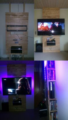 tv - hifi wall out of pallet wood with hidden cables, ps3, dvd shelf and led lighting
