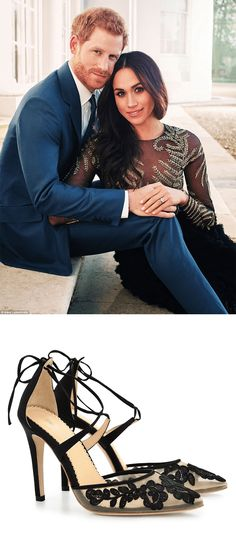 Ankle Wrap Lace Evening Shoes - We absolutely LOVE the daring and unconventional Ralph & Russo dress that Meghan Markle wore for he - Engagement Photo Outfits, Royal Engagement, Engagement Photo Inspiration, Fall Engagement, Engagement Couple, Engagement Pictures, Elegant Engagement Photos, Country Engagement, Engagement Shoots
