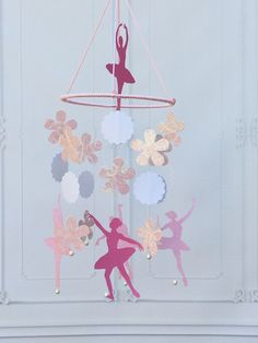 Pink Baby Mobile - Ballerina Baby Mobile - Baby Crib Mobile - Paper Baby Mobile - Baby Girl Mobile - Girl Baby Mobile - Nursery Mobile