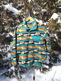 Majestic Patagonia Fleece Pullover 90s Fleece Sweater Synchilla Snap T Patagonia Mountain Peak Aztec Ikat Pattern 90s Ski Size Large Medium