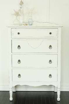 White dresser: I know, I know - how BORING.  But hubs talked me into painting the dresser this color.