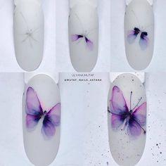 Nail Art Blog, Nail Art Hacks, Gel Nail Art, Acrylic Nails, Butterfly Nail Designs, Butterfly Nail Art, Cute Nail Art, Beautiful Nail Art, Easy Nail Art