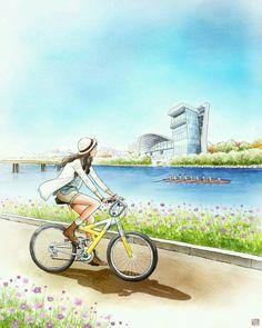 Cute Girl Drawing, Cute Drawings, Bike Illustration, Fantasy Landscape, Anime Art Girl, Girl Cartoon, Art Pictures, Cute Art, Marie
