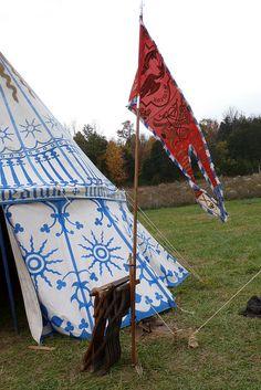 Fifteenth century camp pavilion banner, via Flickr.