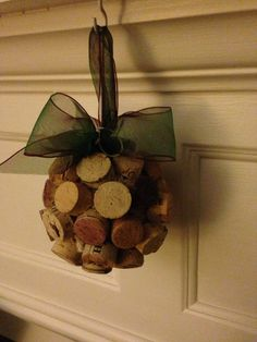 Up cycled cork ornament.