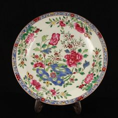 Chinese Famille Rose Porcelain Plate w Poeny Flower