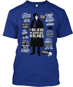 If they did this in a V-neck, I'd have one right NOW!!  I believe in Sherlock Holmes -Tom Trager