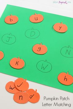 Patch Letter Matching Pumpkin alphabet activity for preschoolers. A fun way to practice letter identification and letter matching.Pumpkin alphabet activity for preschoolers. A fun way to practice letter identification and letter matching. Fall Preschool Activities, Preschool Literacy, Preschool Lessons, Alphabet Activities, Toddler Activities, Halloween Activities For Preschoolers, Letter Identification Activities, Handwriting Activities, Alphabet Crafts