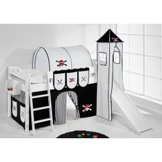 Gut Hochbett Mit Rutsche Und Turm Weiß PIRAT | High Bed With Slide And Tower  Pirate #