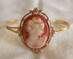 Upcycled Vintage Cameo Gold Wire Cuff Bracelet by heartsoftoday, $40.00