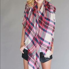 BLANKET SCARF Get the hottest item of the fall and winter! This blanket scarf is HUGE and is so so soft! Comes in fuchsia and cream/navy. Comment below with your color choice so I can create a separate listing for you! Other