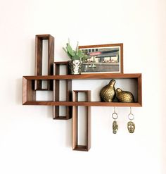 Entryway Organizer // Mid-century Modern // Floating shelf // Walnut // Shelf…