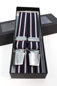 Trico Hollaender Suspenders Navy/Grey Stripe : SUNSETSTAR Edwin Jeans, Universal Works, Red Wing Shoes, Japanese Denim, Workout Accessories, Vintage Inspired Dresses, Suspenders, Grey Stripes, Old School