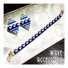 オーダー頂いた wave accessory 夏にぴったり #デリカビーズ #デリカビーズ織り #デリカビーズピアス #デリカビーズアクセサリー #デリカビーズブレスレット #波 #wave #ハンドメイド #ハンドメイドアクセサリー