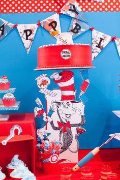 Cat in The Hat Inspired Birthday Party - thing one and thing two inspired celebration, DIY decorations, food, games and favors! Dr Seuss Birthday Party, Birthday Party Desserts, Cat Birthday, 3rd Birthday Parties, Birthday Cake, Party Kit, Party Ideas, Theme Ideas, Diy Ideas