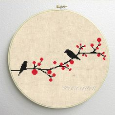 Counted Cross Stitch Pattern PDF Silhouette Birds by SimpleSmart - Cross Stitching & Embroidery - Cross Stitch Bird, Cross Stitch Animals, Counted Cross Stitch Patterns, Cross Stitch Charts, Cross Stitch Designs, Cross Stitching, Cross Stitch Embroidery, Embroidery Patterns, Vogel Silhouette