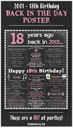 Birthday Party Ideas This is such an easy, inexpensive and memorable birthday gift! Print onto photo paper and frame! You can also use it for an birthday party decoration piece. Print onto poster paper and tape to the wall! Guests will LOVE it! 18 Birthday Party Decorations, Birthday Parties, 18th Party Themes, Office Birthday, Diy Birthday, Gifts For 18th Birthday, 18th Birthday Ideas For Girls, Happy 18th Birthday Quotes, Birthday Presents