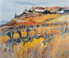 Landscape Painting by Jean Paul Surin French Artist Watercolor Landscape, Abstract Landscape, Landscape Paintings, Watercolor Paintings, Abstract Art, Acrylic Paintings, Klimt, French Paintings, Post Impressionism