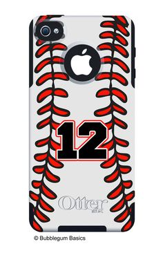 OTTERBOX COMMUTER iPhone 5 5S 5C 4/4S Case Custom Baseball Sports Mom Dad Stitching Pattern Personalized Monogram