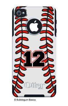 OTTERBOX COMMUTER iPhone 5 5S 5C 4/4S Case Custom Baseball Sports Mom Dad Stitching Pattern Personalized Monogram