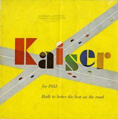 Kaiser sales brochure cover by Paul Rand, 1951 Modern Graphic Design, Graphic Design Illustration, Corporate Logo Design, Moholy Nagy, Brochure Cover, Typography, Lettering, Print Magazine, Branding
