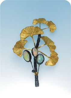 gingko brooch with opals